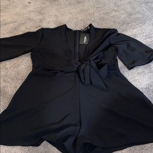 Black romper with tie front